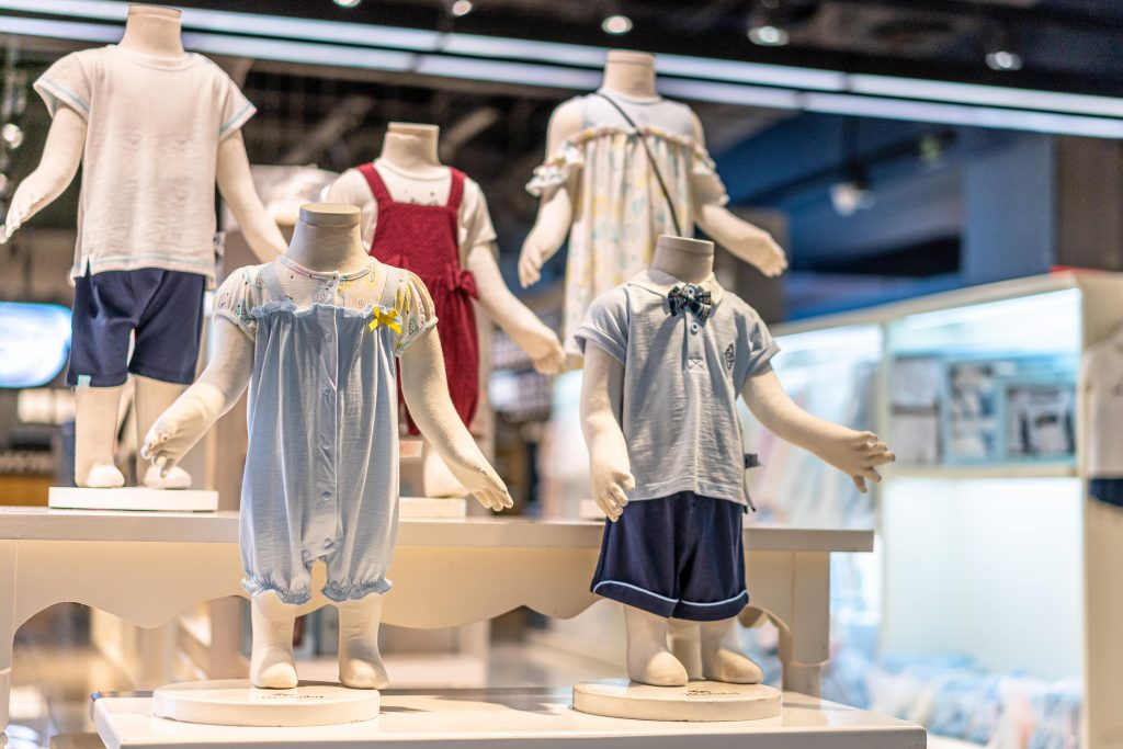 baby clothes in shop