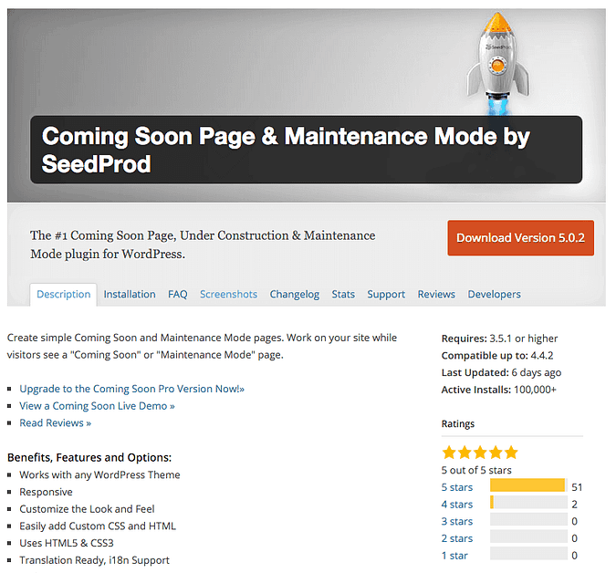 the Coming Soon Page & Maintenance Mode plugin on wordpress.org