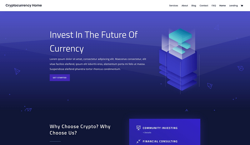 Divi Cryptocurrency layout