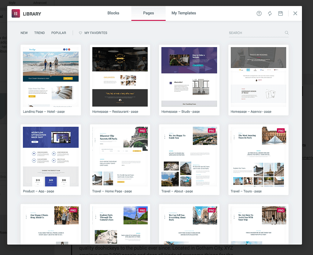 Elementor Pages