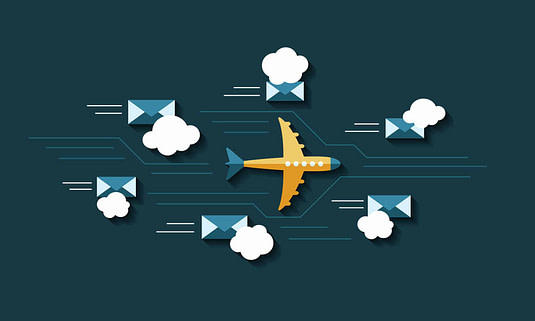 plane and emails flying through the air