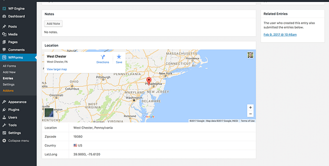 Screenshot from the Geolocation add-on