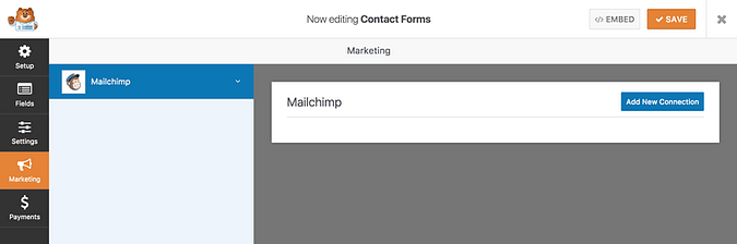 Add a new connection for MailChimp