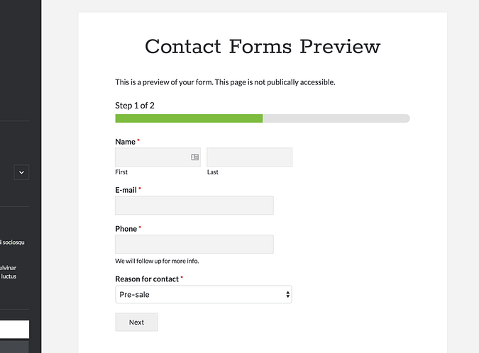 Example of a multi-page form