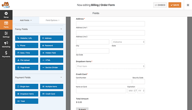 Payment fields added to form