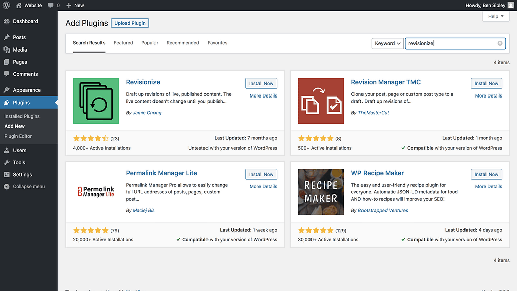 Revisionize in the Plugins search results