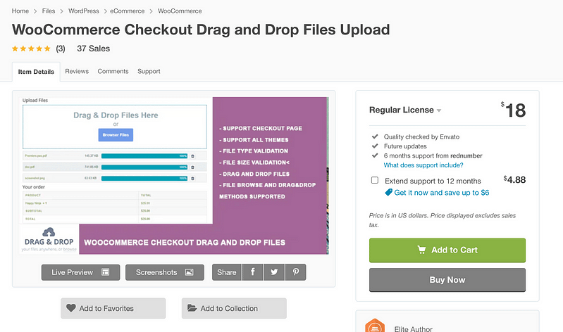 WooCommerce Checkout Drag-and-Drop Files Upload